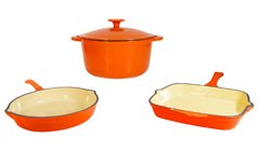 FancyCook 4-Piece Enamel Cast Iron Orange Cookware Set. Super Sale!