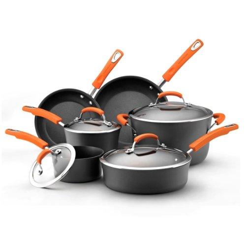 Rachael Ray Hard Anodized II Nonstick Dishwasher Safe 10-Piece Cookware Set, Orange