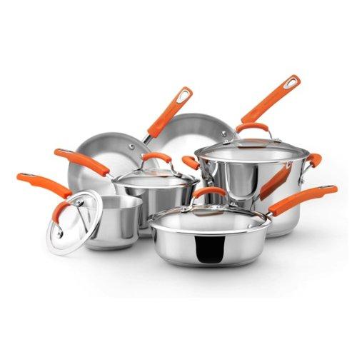 Rachael Ray Stainless Steel II 10-Piece Cookware Set, Orange