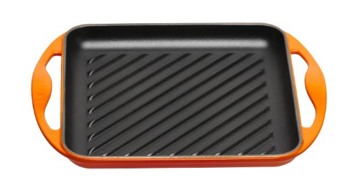 Le Creuset Enameled Cast-Iron 9-1/2-Inch Square Skinny Grill Pan, Flame